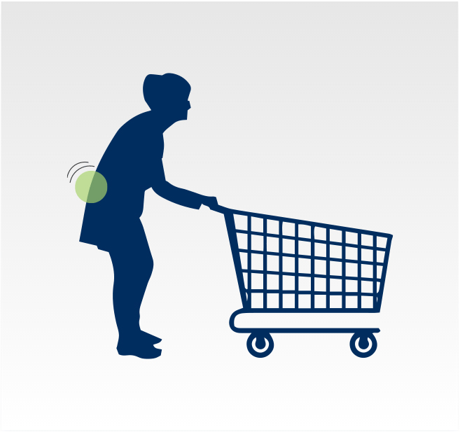 Graphic - Lower back pain relief while bending forward on a grocery cart